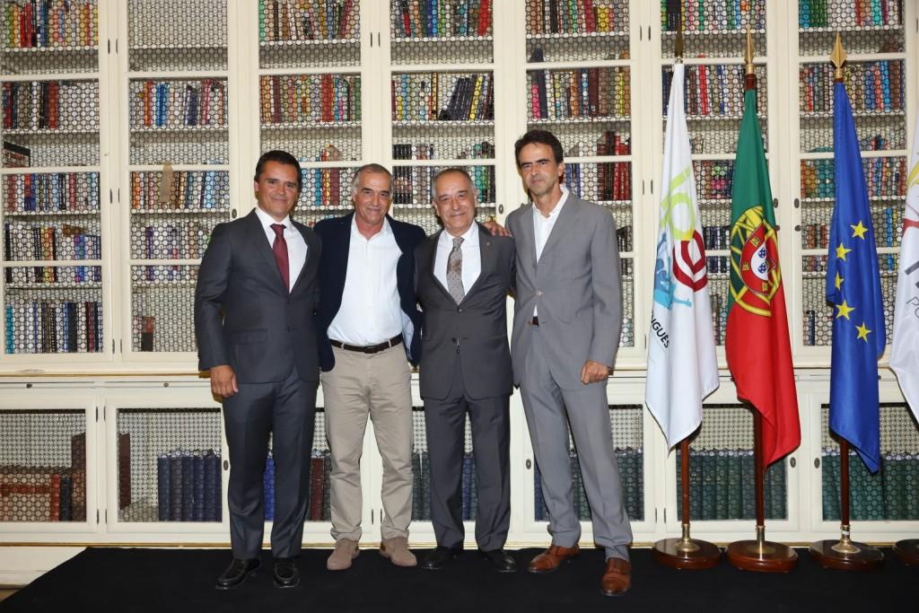 Vasco Rodrigues (7º e atual presidente da FTP), José Luis Ferreira (5º presidente da FTP), Carlos Raimundo (presidente da Associação Portuguesa de Triatlo, entidade anterior à FTP) e Adriano Cunha (4º presidente da FTP).