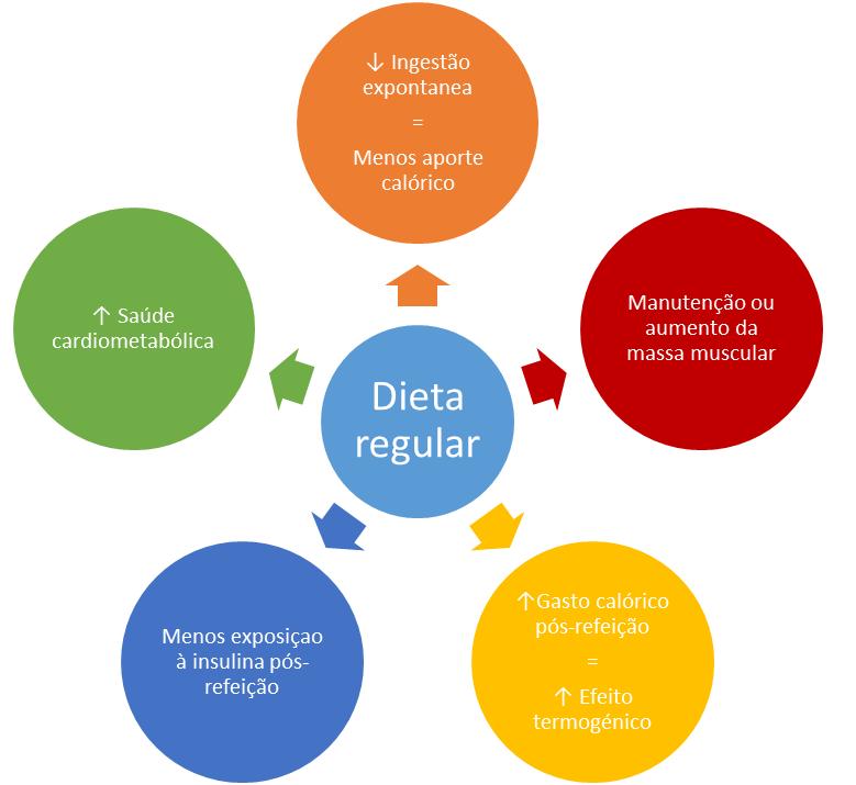 Veja em esquema os benefícios de uma dieta regular